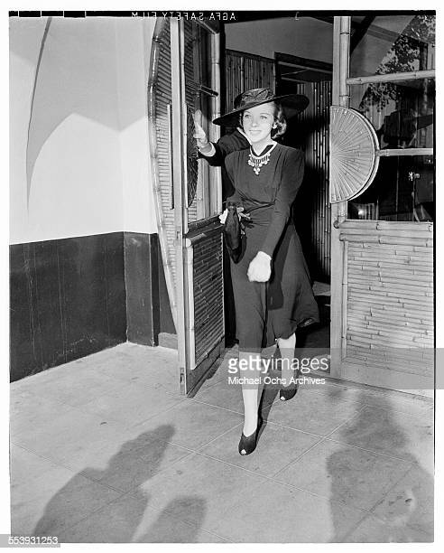 Actress Ida Lupino is photographed leaving a restaurant in Los Angeles California