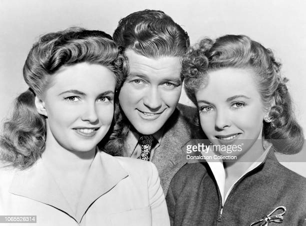 Actress Ida Lupino Joan Leslie Dennis Morgan in a scene from the movie The Hard Way