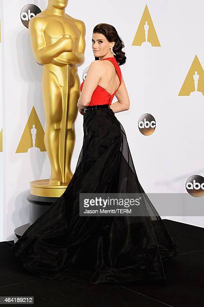 Actress Idina Menzel poses in the press room during the 87th Annual Academy Awards at Loews Hollywood Hotel on February 22 2015 in Hollywood...