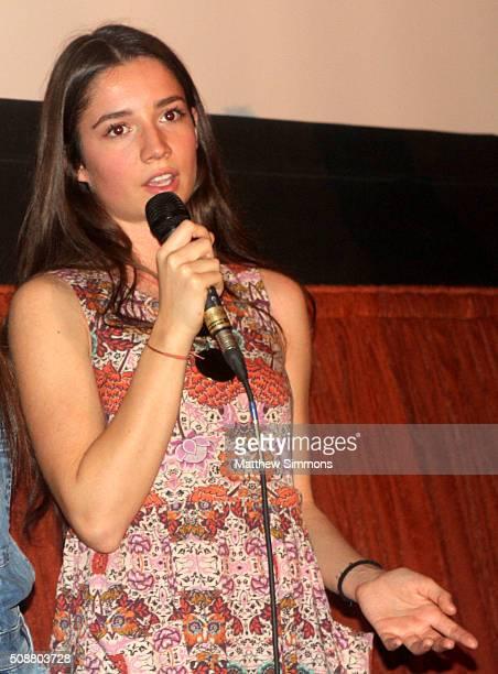Actress Ilayda Akdogan speaks at a screening of Mustang at the Metro 3 at the 31th Santa Barbara International Film Festival on February 6 2016 in...