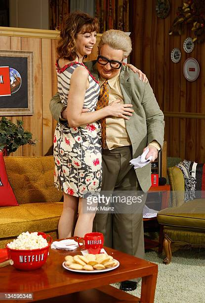 Actress Illeana Douglas with Martin Short as Jiminy Glick at the Netflix Lounge at Film Independent's 2008 Independent's Spirit Awards at the Santa...