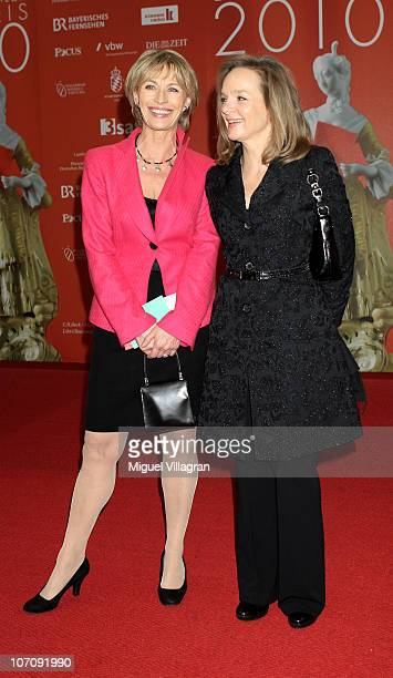 Actress Ilona Gruebel and Sissy Hoefferer pose prior to the award ceremony of the Corine book award on November 23 2010 in Munich Germany