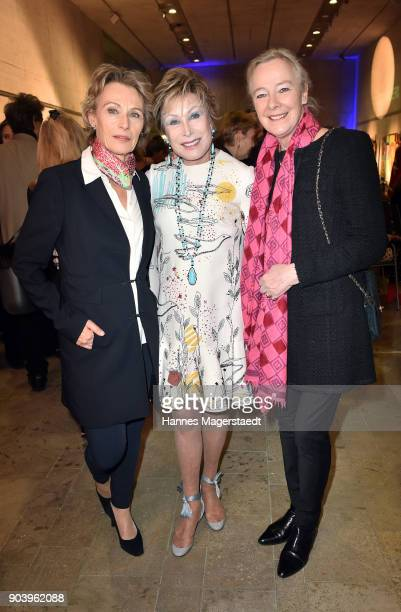 Actress Ilona Gruebel Dr AntjeKatrin Kuehnemann and Prinzessin Uschi zu Hohenlohe during 'Der andere Laufsteg' exhibition opening in Munich at...