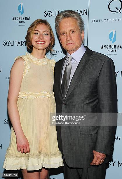 Actress Imogen Poots and actor Michael Douglas attend the premiere of Solitary Man at Cinema 2 on May 11 2010 in New York City