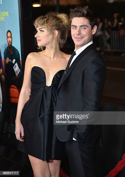 Actress Imogen Poots and actor Zac Efron arrive at the premiere of Focus Features' That Awkward Moment at Regal Cinemas LA Live on January 27 2014 in...