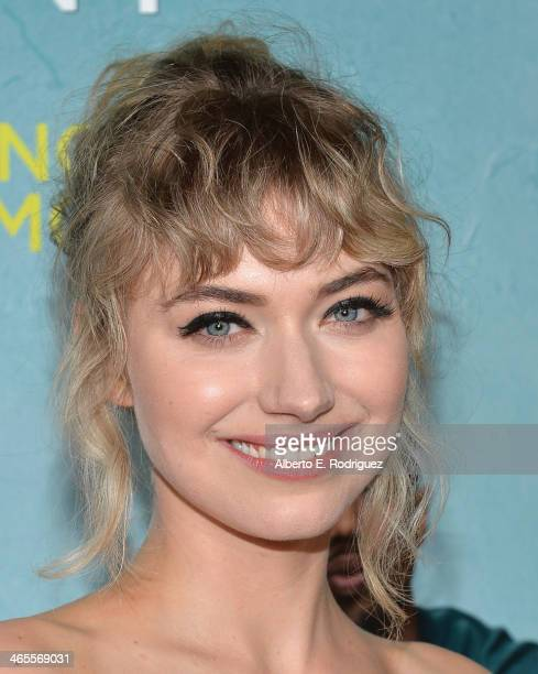 "Actress Imogen Poots arrives to the premiere of Focus Features' ""That Awkward Moment"" at Regal Cinemas L.A. Live on January 27, 2014 in Los Angeles,..."