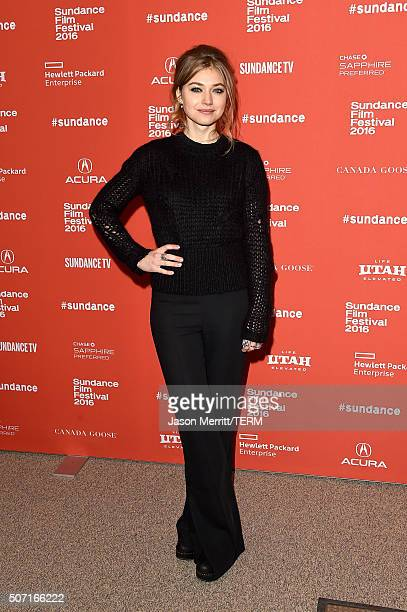 Actress Imogen Poots attends the Frank Lola premiere during the 2016 Sundance Film Festival at Eccles Center Theatre on January 27 2016 in Park City...