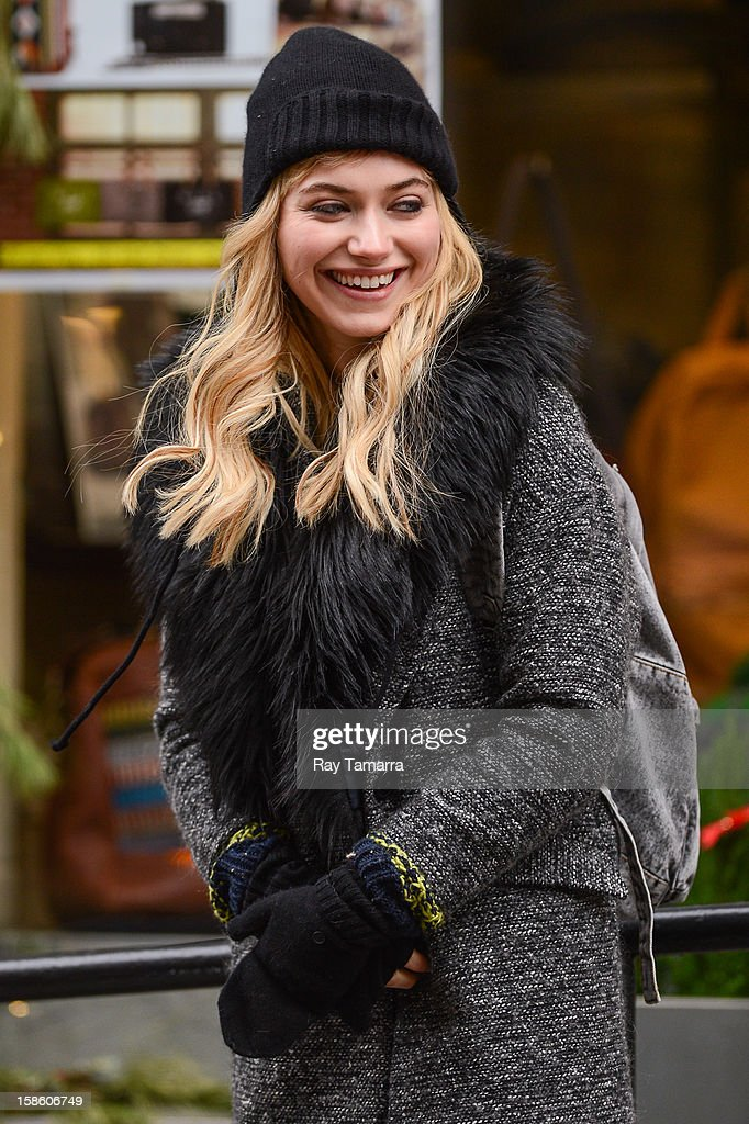 Actress Imogen Poots films a scene at the 'Are We Officially Dating?' movie set in Soho on December 20, 2012 in New York City.