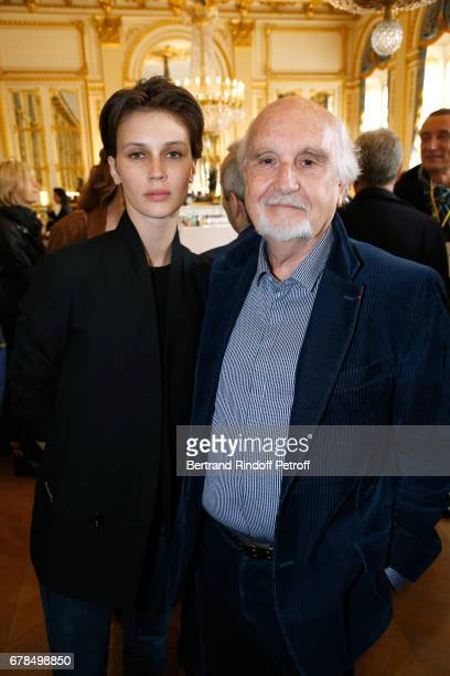 Actress in 'L'amant double' Marine Vacth and producer JeanLouis Livi attend Audrey Azoulay French Minister of Culture and Communication hosts a...