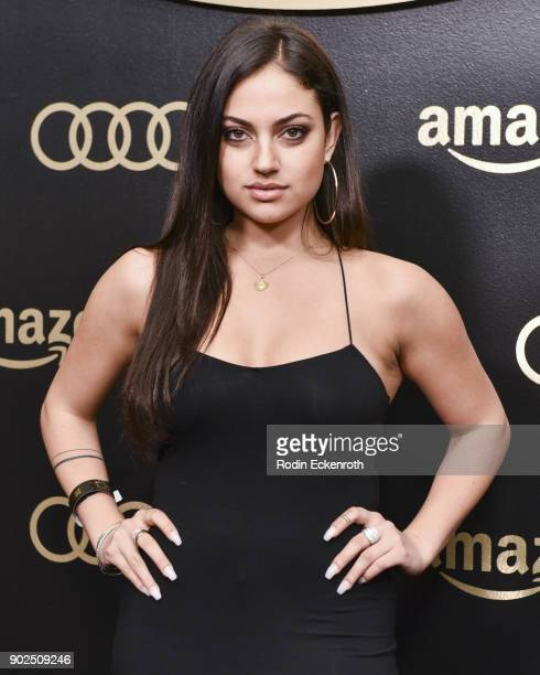 Actress Inanna Sarkis arrives at the Amazon Studios Golden Globes Celebration at The Beverly Hilton Hotel on January 7 2018 in Beverly Hills...