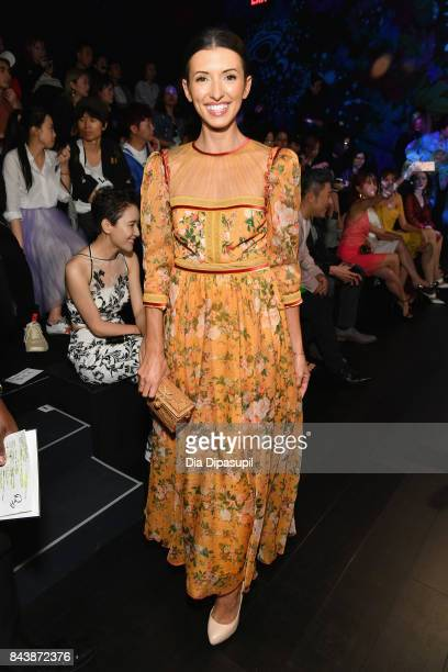 Actress India de Beaufort attends the Tadashi Shoji fashion show during New York Fashion Week The Shows at Gallery 1 Skylight Clarkson Sq on...