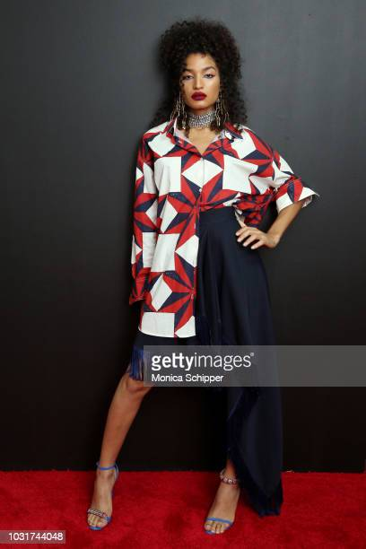 Actress Indya Moore attends the Calvin Klein Collection fashion show at New York Stock Exchange on September 11 2018 in New York City