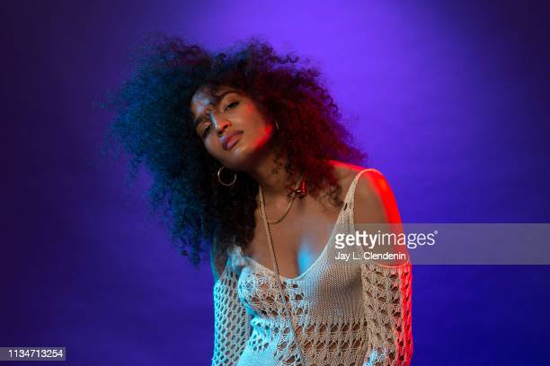 Actress Indya Moore from 'Pose' is photographed for Los Angeles Times on March 23 2019 during PaleyFest at the Dolby Theatre in Hollywood California...