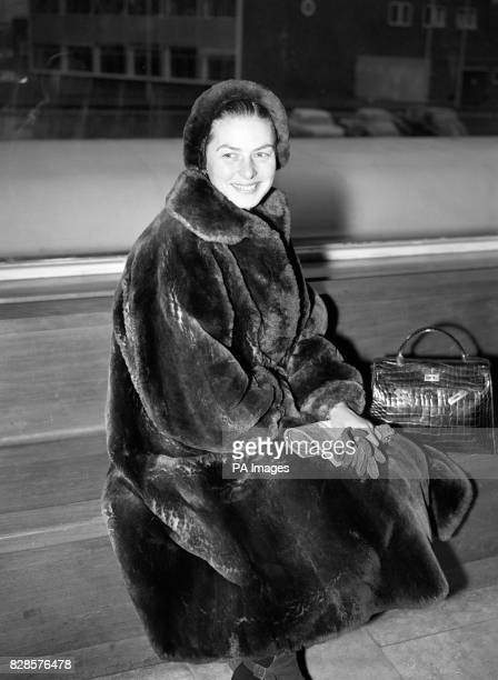 Actress Ingrid Bergman at London Airport as she was about to fly off to spend two weeks holiday with her children in the Italian Alps.