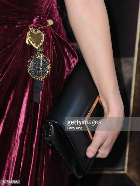 Actress Ingrid Bisu purse detail attends the premiere of New Line Cinema's' 'Annabelle Creation' at TCL Chinese Theatre on August 7 2017 in Hollywood...