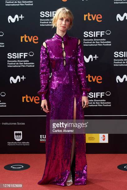 Actress Ingrid Garcia Jonsson attends 'Dasatskisi' premiere during the 68th San Sebastian International Film Festival at the Kursaal Palace on...