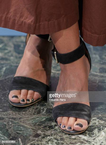 Actress Inma Cuesta shoes detail attends the 'El Amante' photocall at Kamikaze theatre on September 8 2017 in Madrid Spain