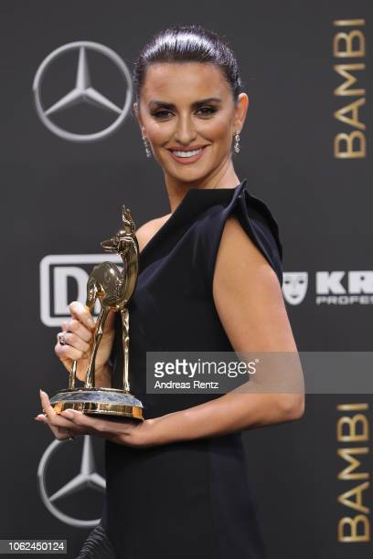 'Actress International' award winner Penelope Cruz poses with award during the 70th Bambi Awards winners board at Stage Theater on November 16 2018...