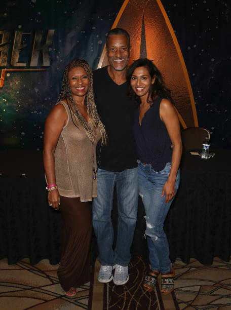 Actress Iona Morris actor Phil Morris and actress Rekha Sharma attend the 17th annual official Star Trek convention at the Rio Hotel Casino on August.