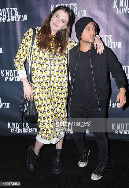 Actress Ireland Baldwin and actor Tahj Mowry attend Knott's Scary Farm Black Carpet at Knott's Berry Farm on October 1 2015 in Buena Park California