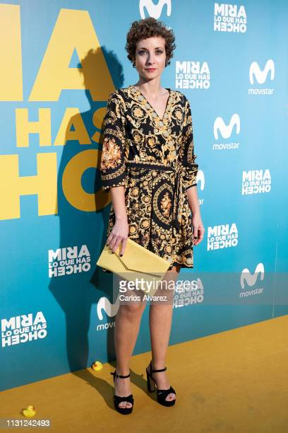 Actress Irene Anula attends Mira lo que has Hecho second season premiere at the Capitol cinema on February 21 2019 in Madrid Spain