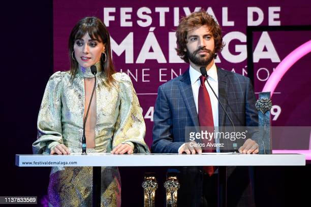 Actress Irene Arcos and actor Benjamin Alfonso attend the Malaga Film Festival 2019 closing day gala at Cervantes Theater on March 23 2019 in Malaga...