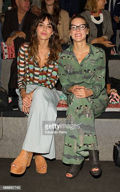 Actress Irene Arcos and actress Maggie Civantos are seen attending Mercedes-Benz Fashion Week Madrid Spring/Summer 2016 at Ifema on September 18,...