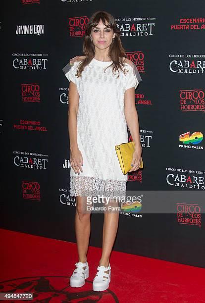 Actress Irene Arcos attends 'Cabaret maldito circo de los horrores' premiere at Carpa Puerta del Angel on October 29 2015 in Madrid Spain