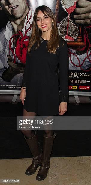 Actress Irene Arcos attends 'Cuando menos te lo esperes' premiere at Rialto theatre on February 29, 2016 in Madrid, Spain.