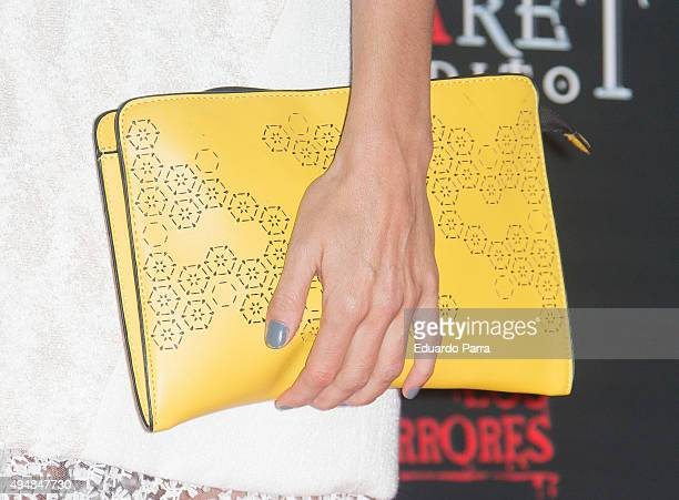 Actress Irene Arcos bag detail attends 'Cabaret maldito circo de los horrores' premiere at Carpa Puerta del Angel on October 29 2015 in Madrid Spain