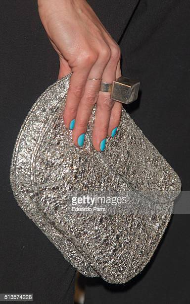 Actress Irene Arcos bag detail attends Gioseppo 25th anniversary party photocall at Callao cinema on March 3 2016 in Madrid Spain