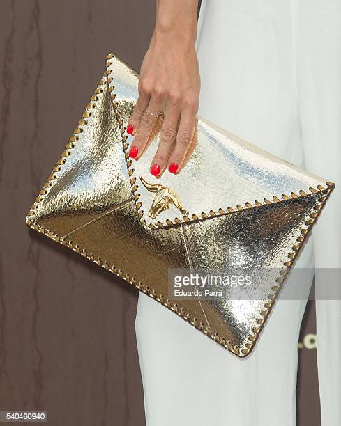 Actress Irene Arcos bag detail attends the 'Magnum summer' photocall at Me hotel on June 15 2016 in Madrid Spain