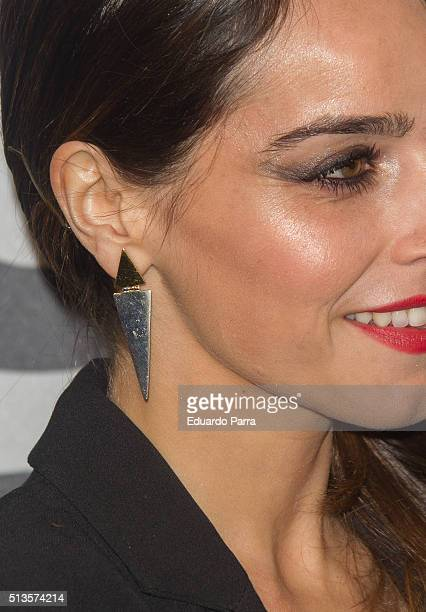Actress Irene Arcos earring detail attends Gioseppo 25th anniversary party photocall at Callao cinema on March 3 2016 in Madrid Spain