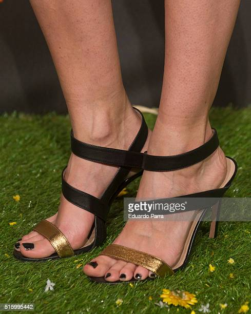Actress Irene Arcos shoes detail attends 'El pregon' premiere at Capitol cinema on March 16 2016 in Madrid Spain