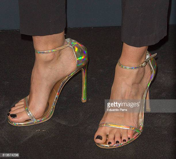 Actress Irene Arcos shoes detail attends Gioseppo 25th anniversary party photocall at Callao cinema on March 3 2016 in Madrid Spain