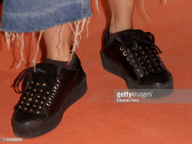 Actress Irene Arcos shoes detail attends Najwa Nimri And Mala Rodriguez Concert at Barceo Theatre March 07 2019 in Madrid Spain