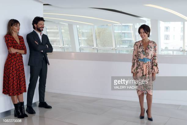 Actress Irene Arcos Spanish actor Alvaro Morte and Spanish actress Veronica Sanchez pose during a photocall for 'The pier' TV series as part of the...