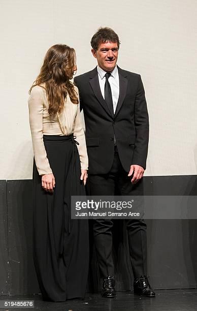 Actress Irene Escolar and actor Antonio Banderas attend 'Altamira' photocall at Placio Festivales on April 1 2016 in Santander Spain