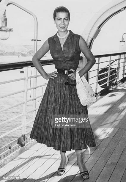 Actress Irene Papas star of the film 'The Guns of Navarone' pictured on the deck of a ship 1961