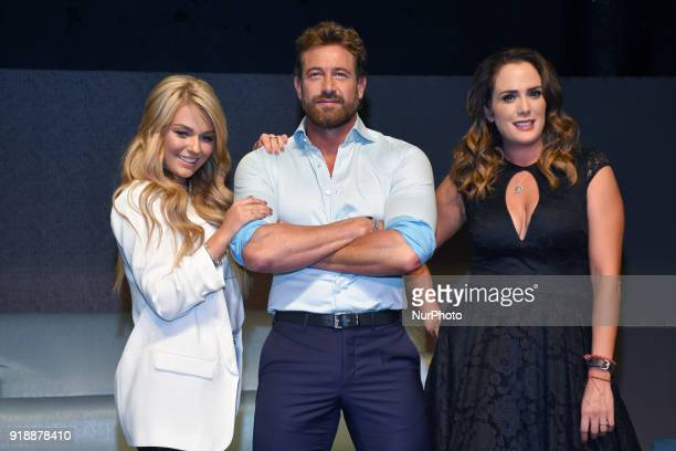 Actress Irina Baeva actor Gabriel Soto and actress Betty Monroe are seen during a press conference to announce the theater play 'Porque los Hombres...