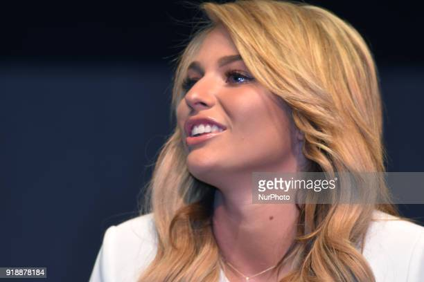 Actress Irina Baeva is seen during a press conference to announce the theater play 'Porque los Hombres Aman a las Cabronas' at the 11 of July Theatre...
