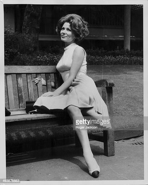 Actress Irina Demick posing for promotional photographs, following her replacement of Britt Ekland in the film 'Those Magnificent Men in their Flying...