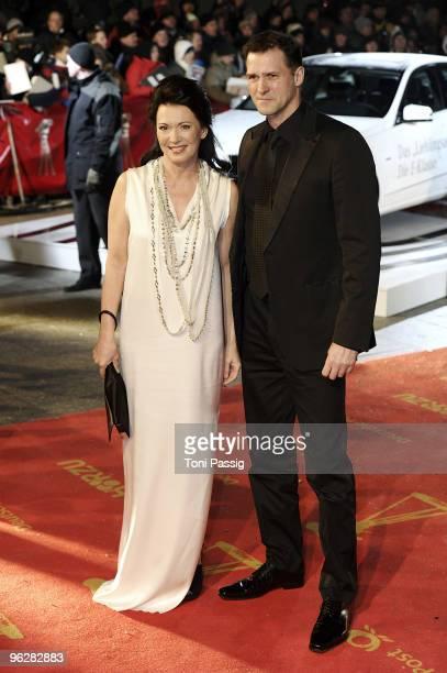 Actress Iris Berben and boyfriend, stuntman Heiko Kiesow attend the Goldene Kamera 2010 Award at the Axel Springer Verlag on January 30, 2010 in...