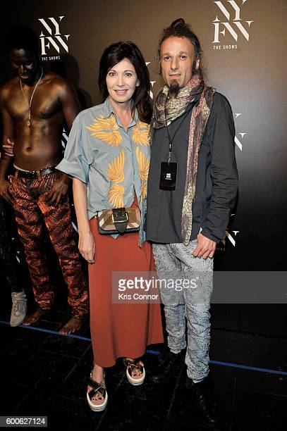 Actress Iris Berben and Designer Johny Das pose backstage at Jeans For Refugees by Johnny Dar fashion show during New York Fashion Week The Shows at...