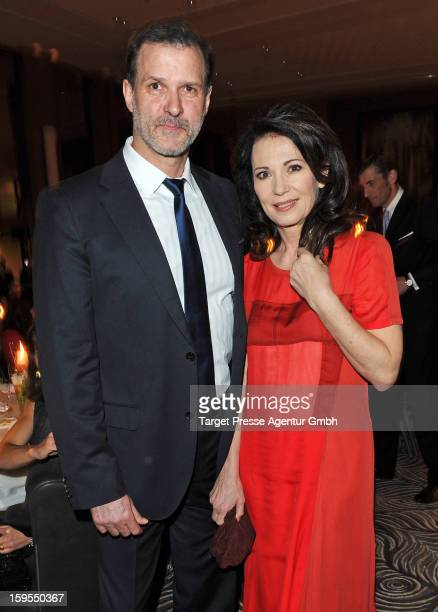Actress Iris Berben and her partner Heiko Kiesow attend the Elle Soiree Privee during the MercedesBenz Fashion Week at the Waldorf Astoria on January...