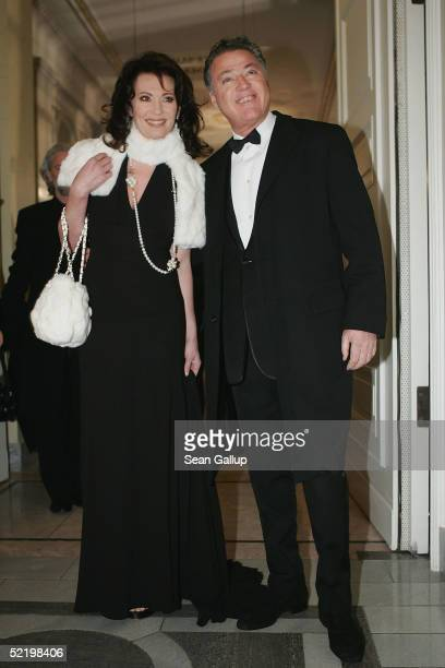 Actress Iris Berben and husband Gabriel Lewy arrive at the Cinema For Peace Awards on February 14 2005 in Berlin Germany