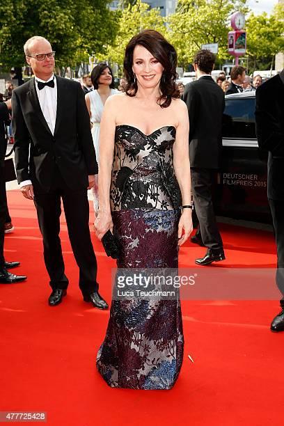 Actress Iris Berben arrives for the German Film Award 2015 Lola at Messe Berlin on June 19 2015 in Berlin Germany