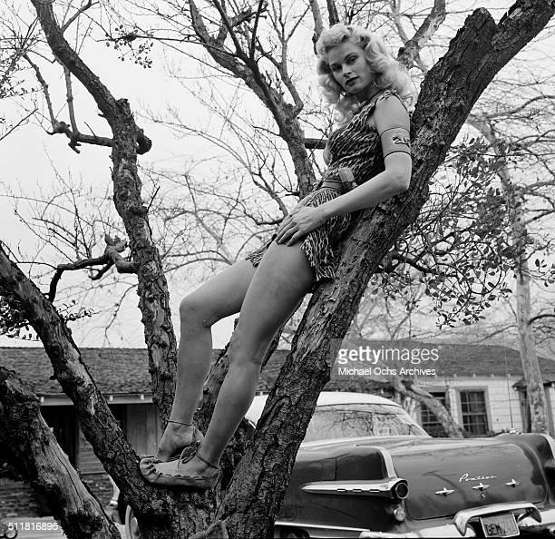 Actress Irish McCalla poses at home as Sheena in Los AngelesCA