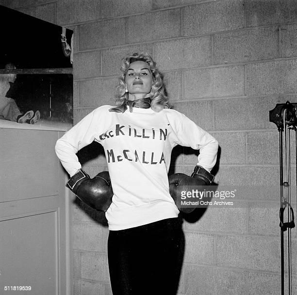 Actress Irish McCalla poses in a Killin McCalla shirt in Los AngelesCA