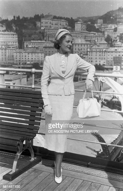 Actress Isa Miranda on the Transatlantic Rex August 26 Genoa Italy 20th century